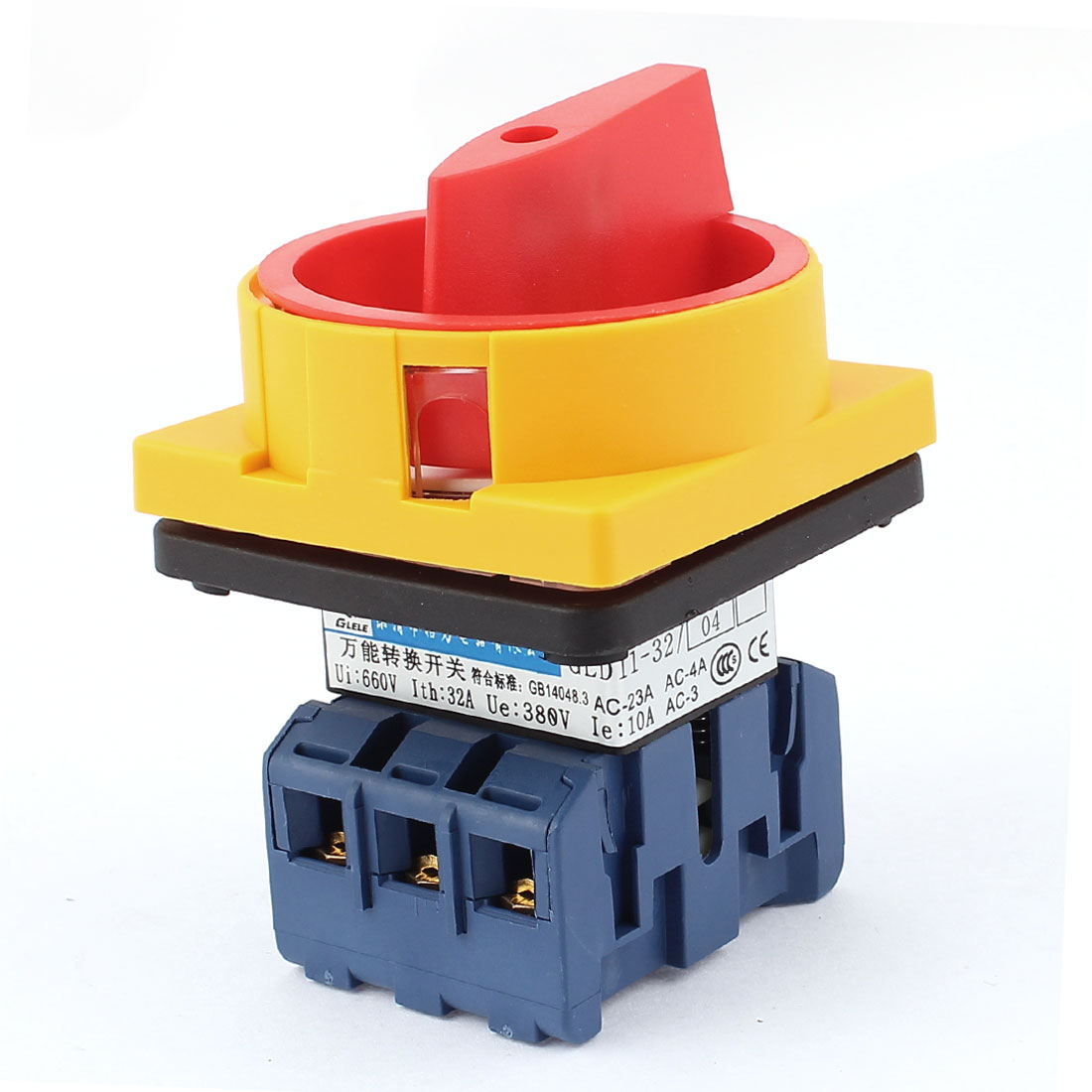 660V 32A 2 Positions 6 Terminals Square Panel 3 Poles Latching Rotary Changeover Cam Switch