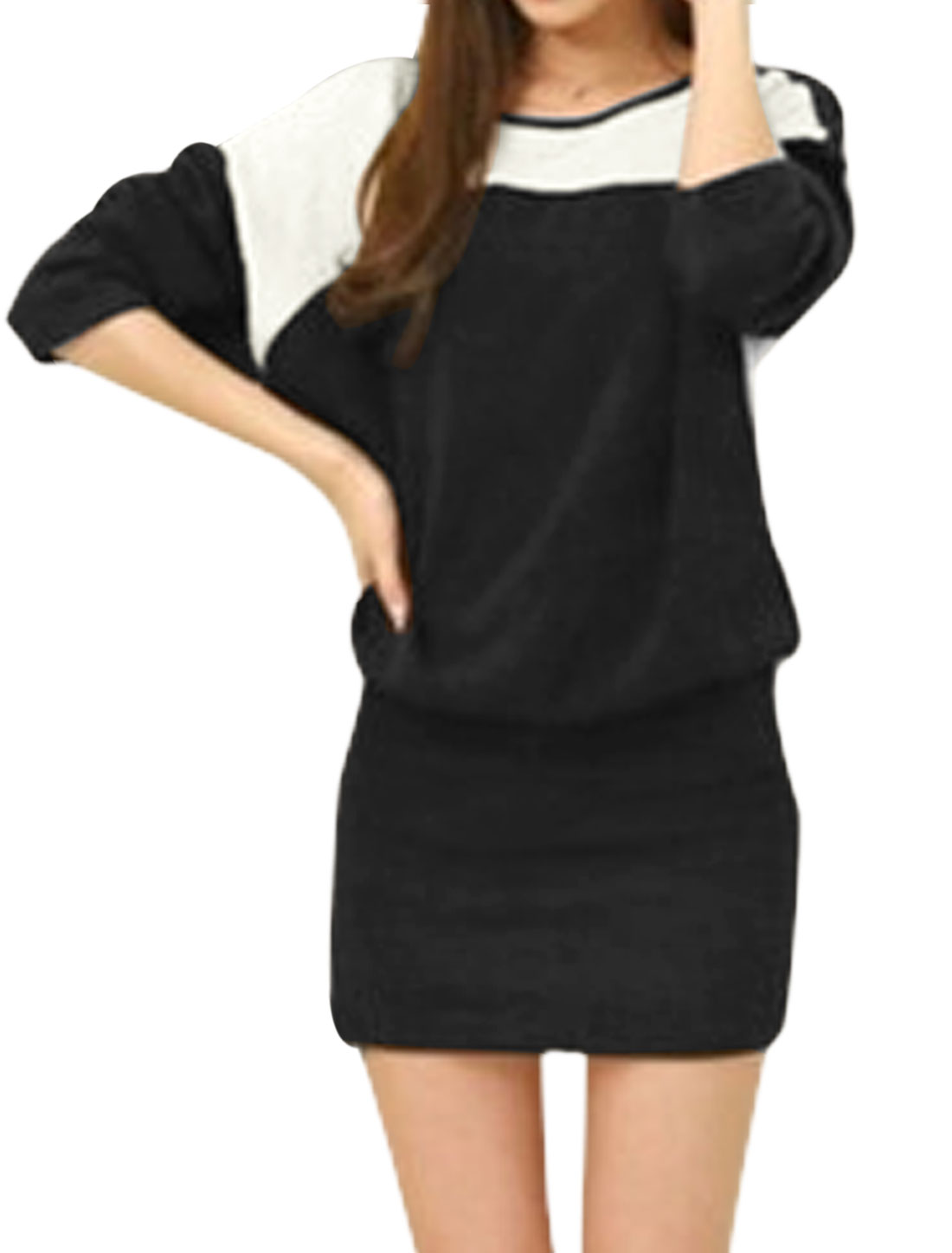 Ladies Round Neck Long Dolman Sleeves Casual Blouson Dress Black M