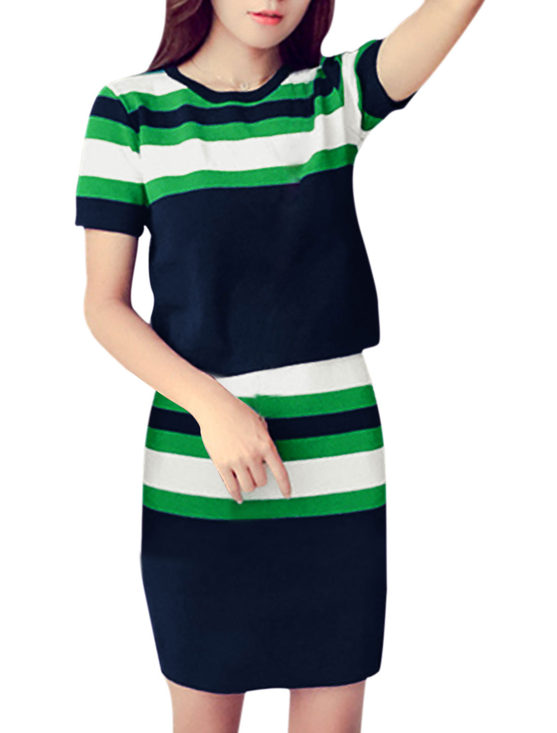 Woman Stripes Knit Top w Elastic Waist Knitted Pencil Skirt Sets Navy Blue XS