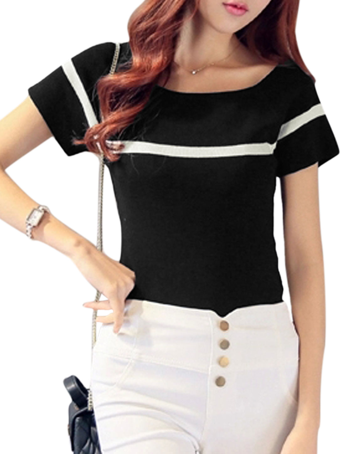 Woman Stripes Detail Slim Fit Short Sleeves Casual Knit Top Black XS
