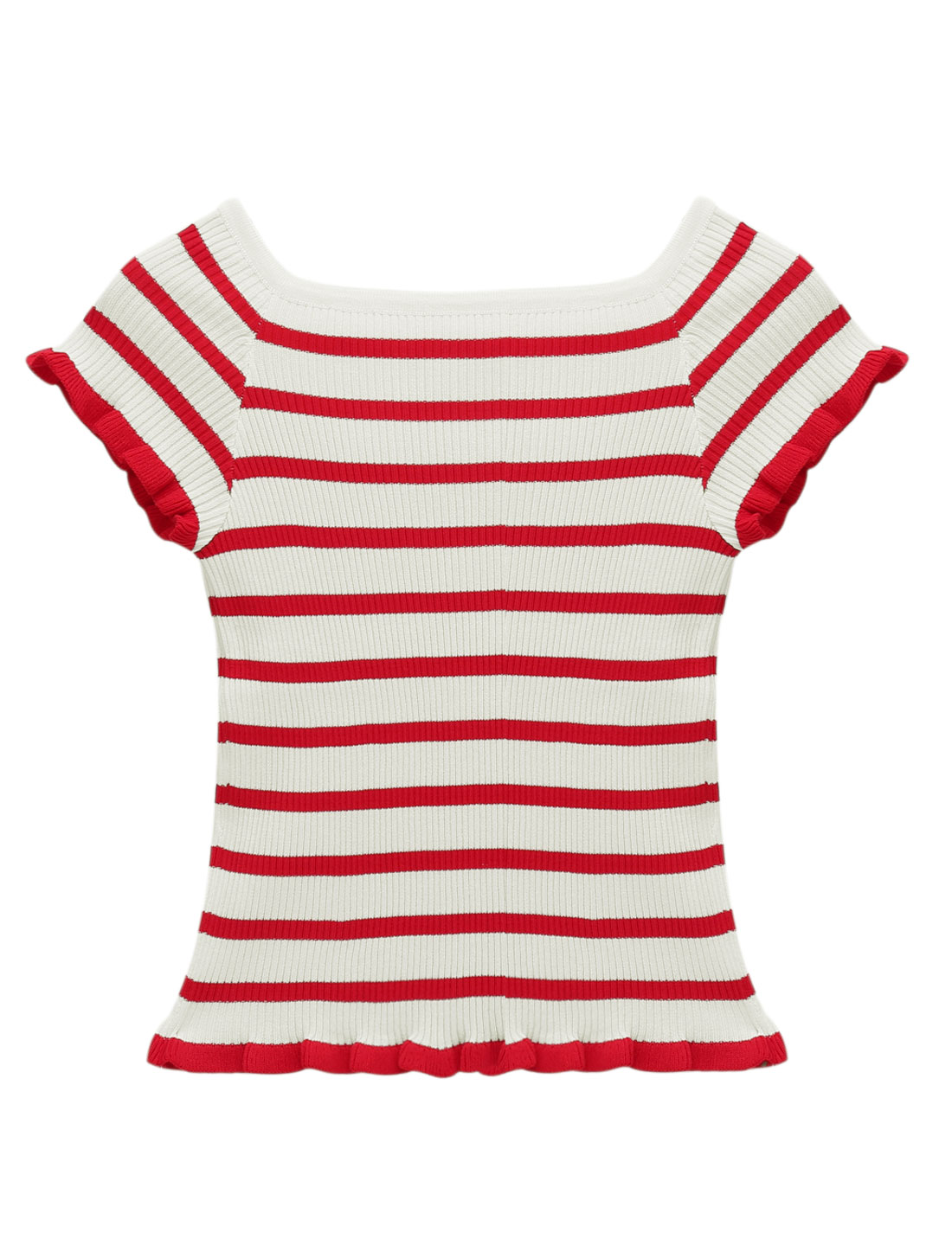 Woman Stripes Boat Neck Ruffled Hem Slim Fit Ribbed Knit Top Red XS