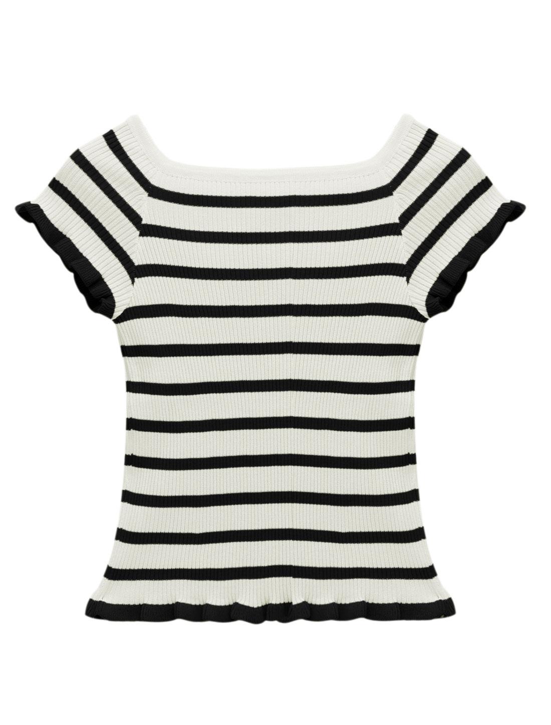 Woman Stripes Boat Neck Ruffled Hem Short Sleeves Ribbed Knit Top Black XS