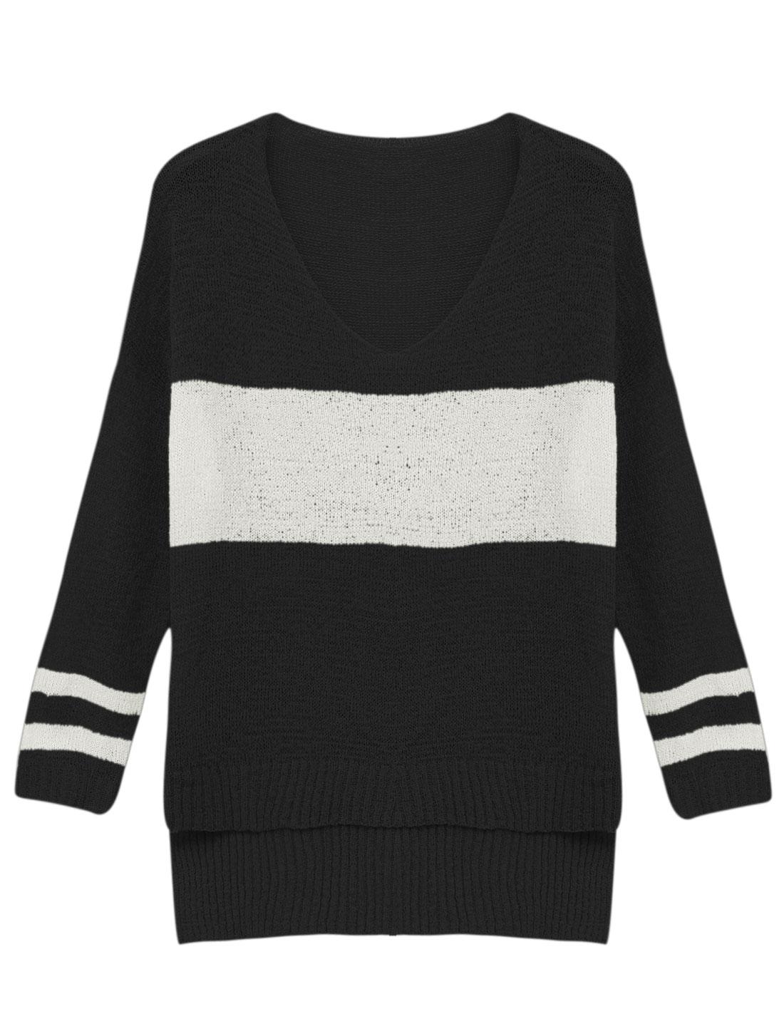 Woman Stripes V Neck 3/4 Sleeves High Low Hem Tunic Knit Top Black S