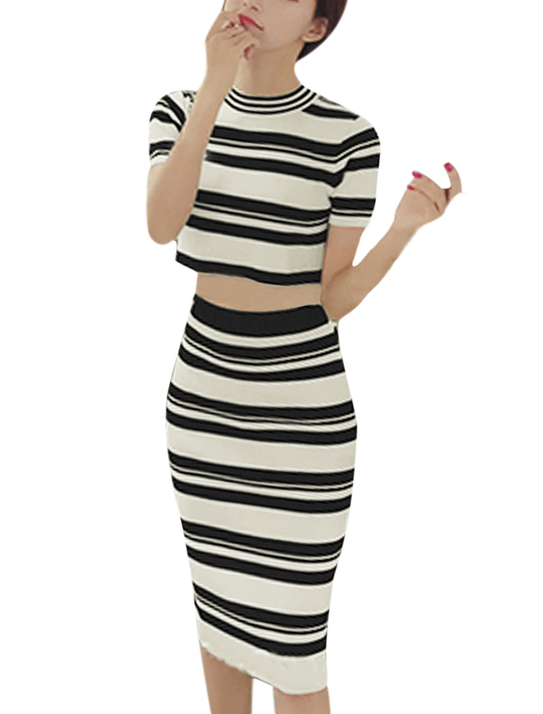 Woman Crew Neck Knit Crop Top w Knitted Stripes Bodycon Skirt Sets White XS