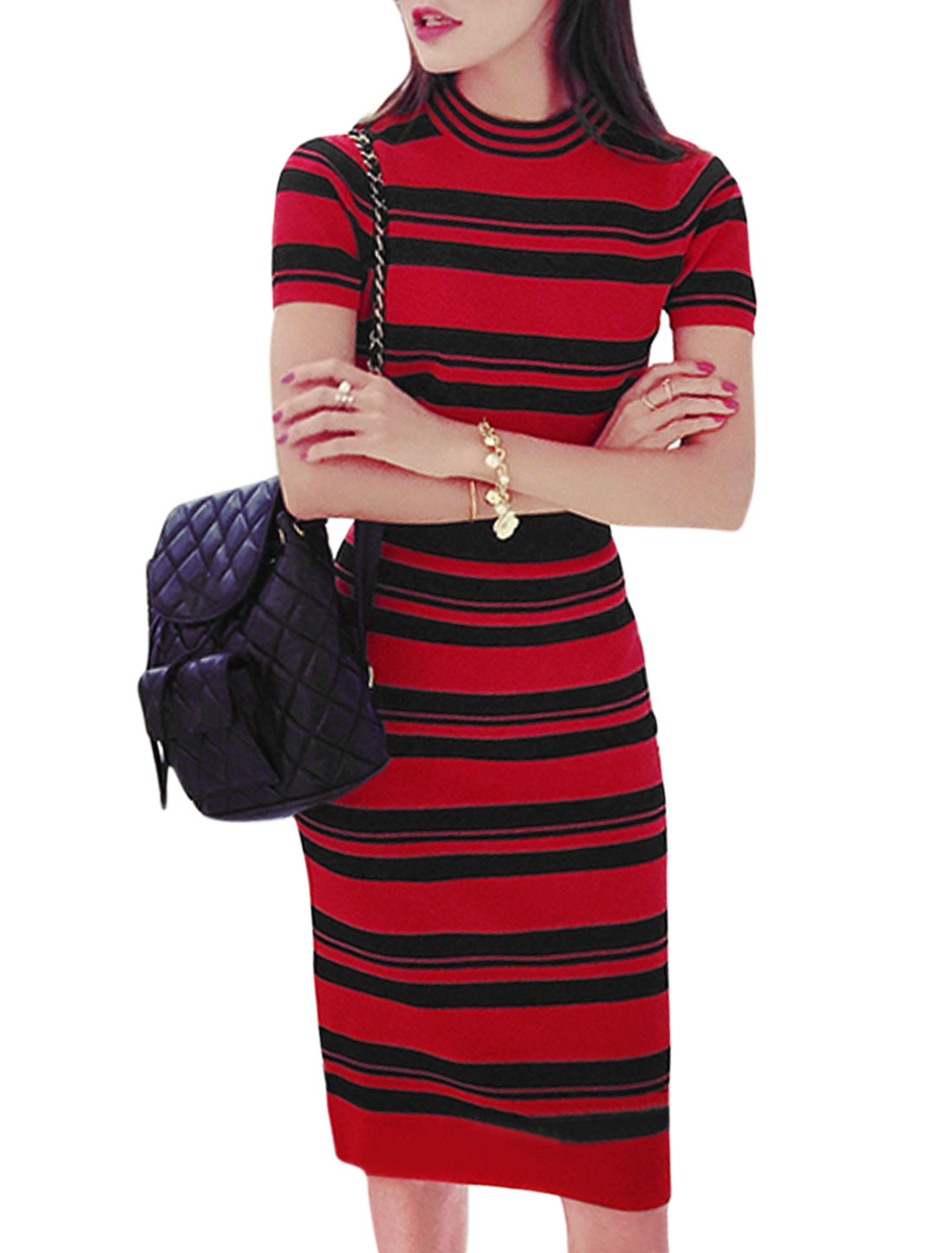 Woman Short Sleeves Knit Crop Top w Knitted Stripes Bodycon Skirt Sets Red XS