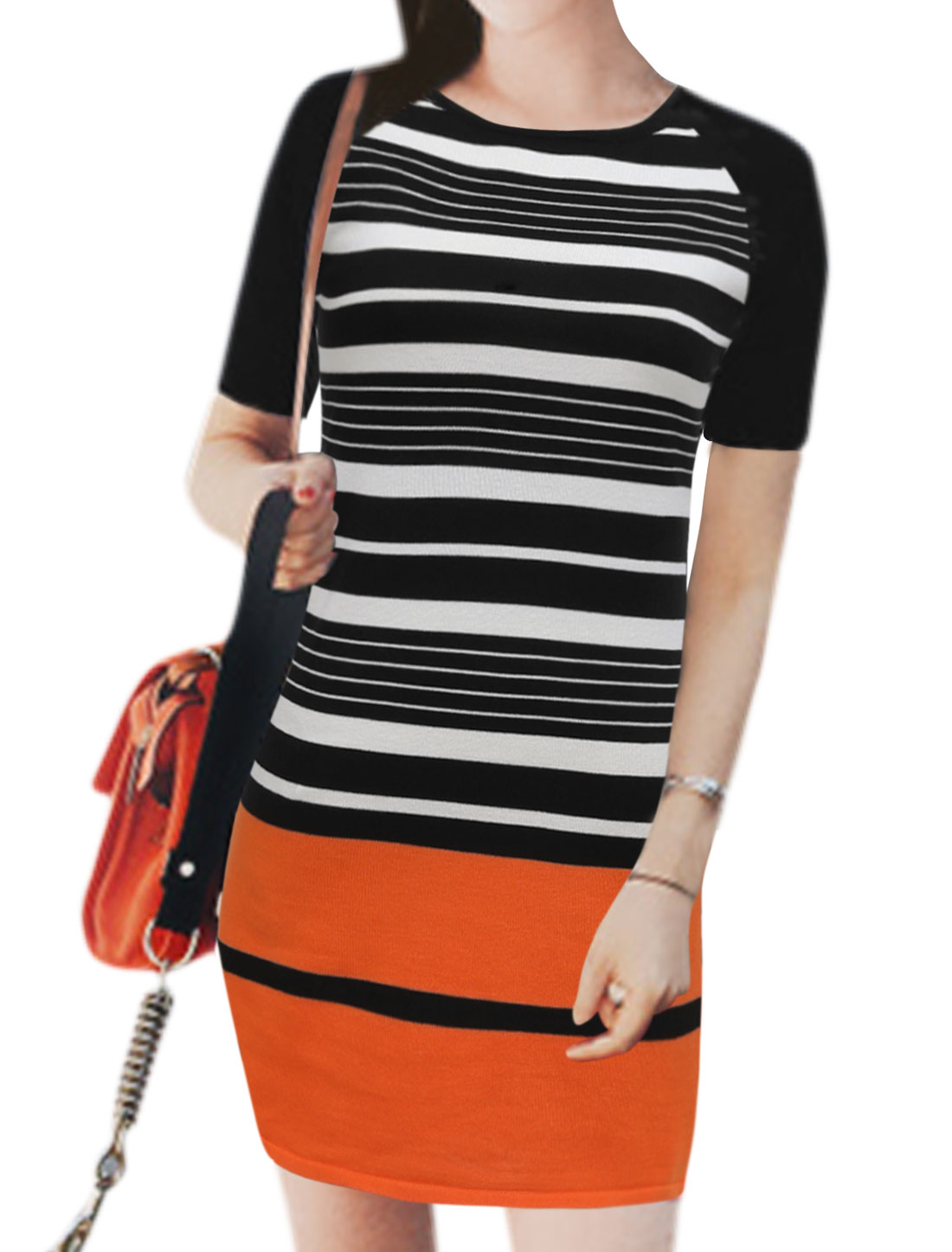 Woman Short Sleeve Striped Contrast Color Tunic Knit Dress Black XS