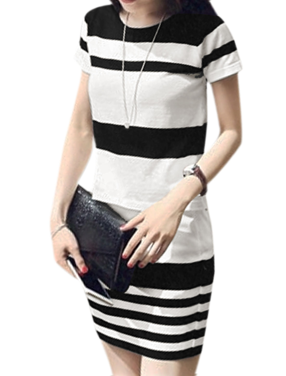 Woman Stripes Short Sleeves Knit Top w Knitted Pencil Skirt Sets White XS