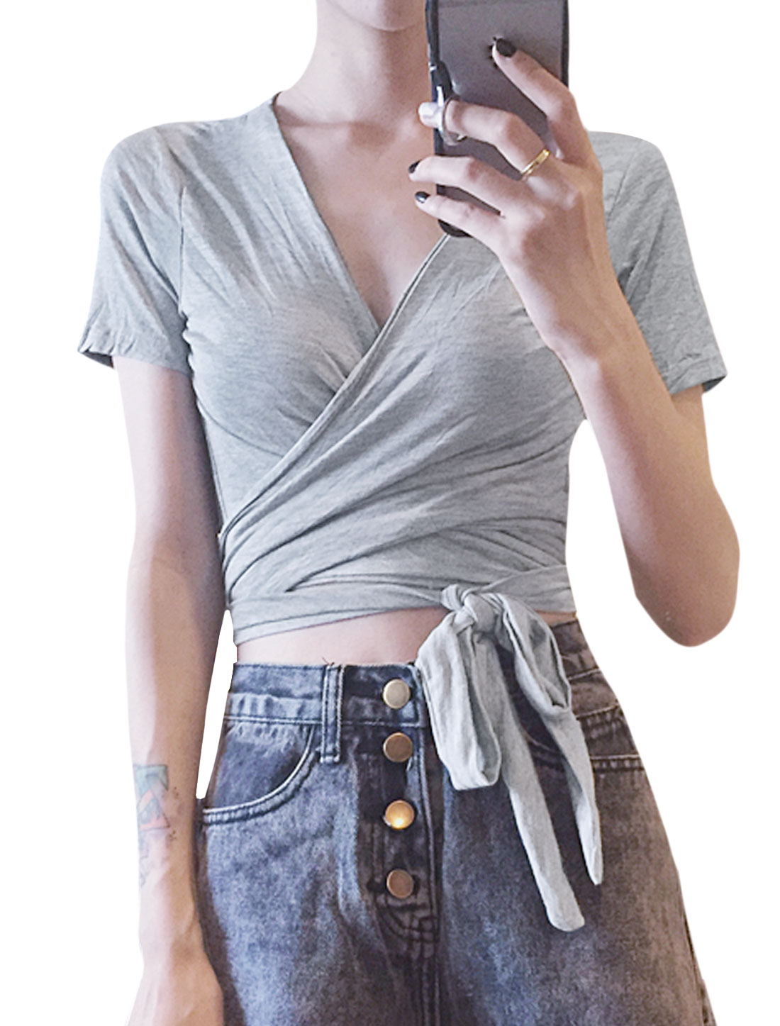 Ladies Short Sleeve Crossover V Neck Self Tie Front Casual T-Shirt Light Gray XS