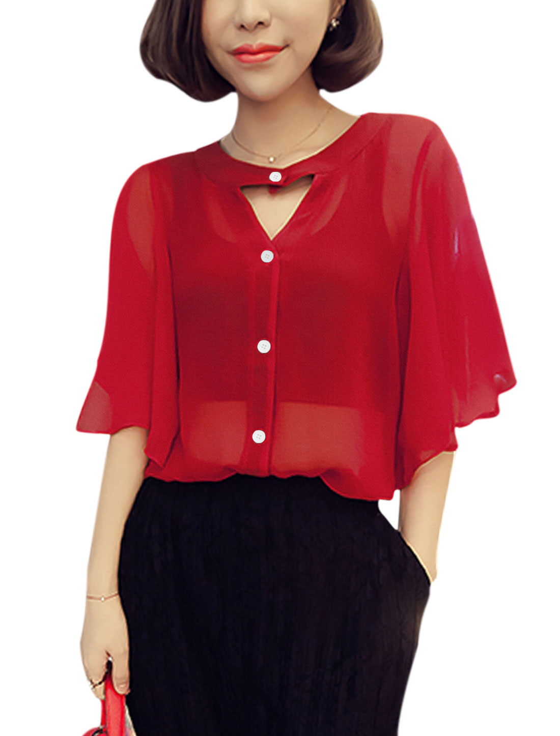 Women Round Neck Cut Out Front Half Bell Sleeves Shirt Red XS