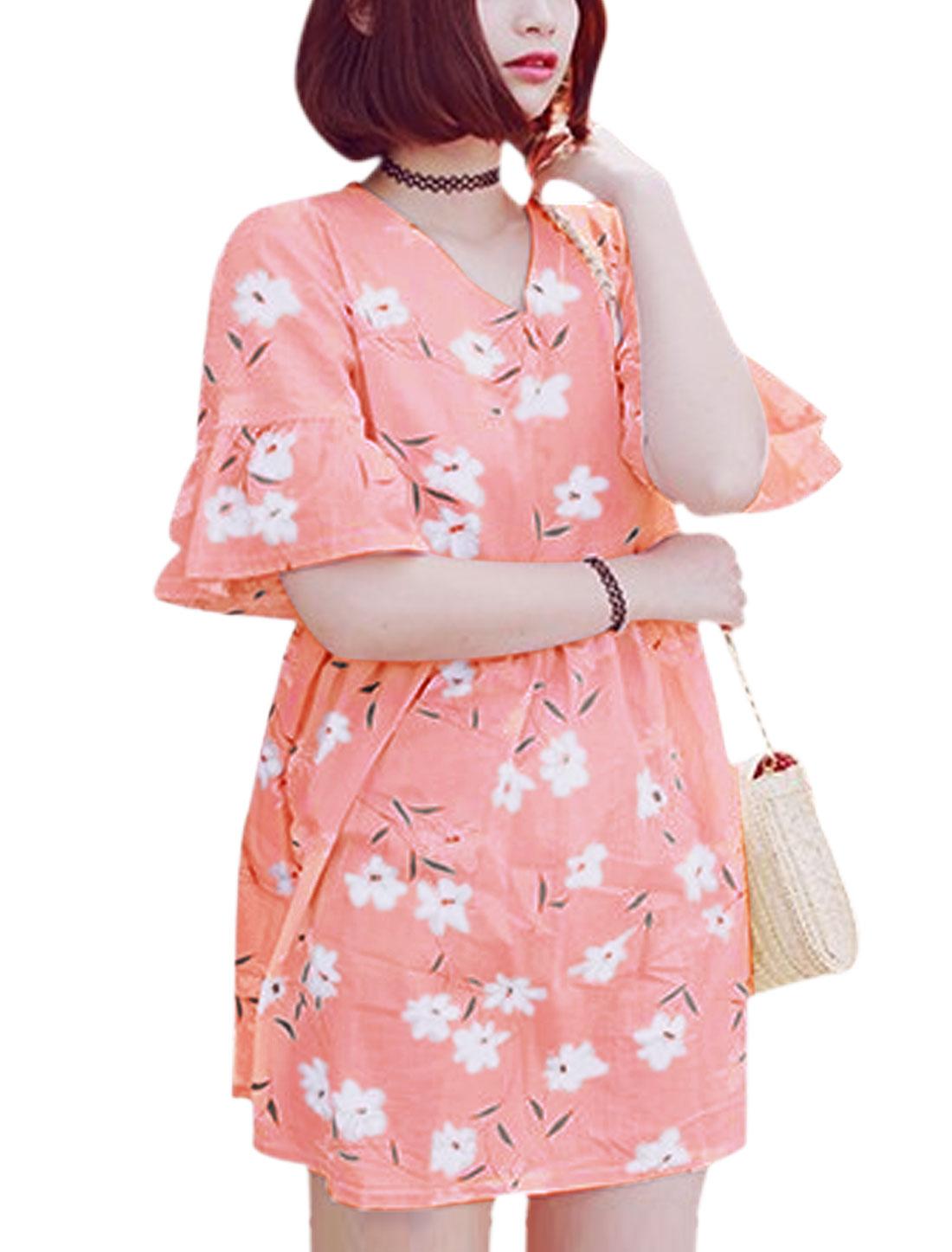 Ladies Bell Sleeves Floral Print V Neckline Babydoll Dress Pink XS