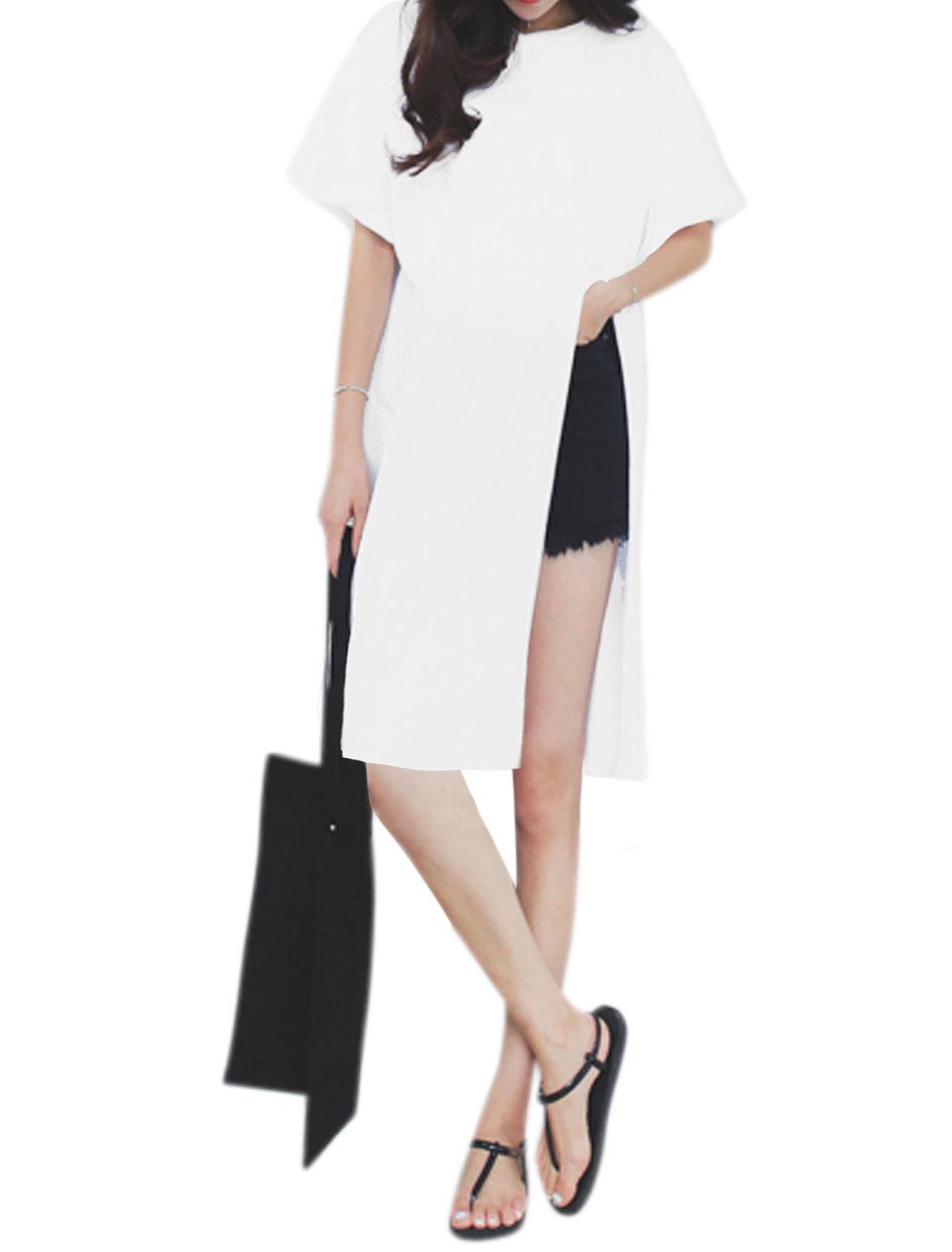 Women Round Neck Short Sleeves High Slit Front Tunic Tee White XS