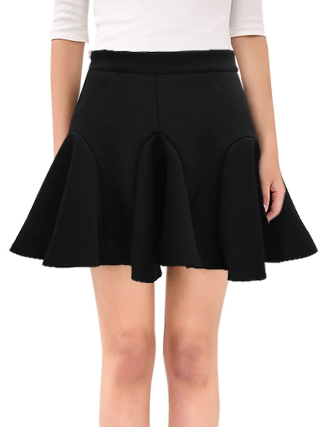 Women High Waist Flounced Hidden Zipper A Line Skirt Black S