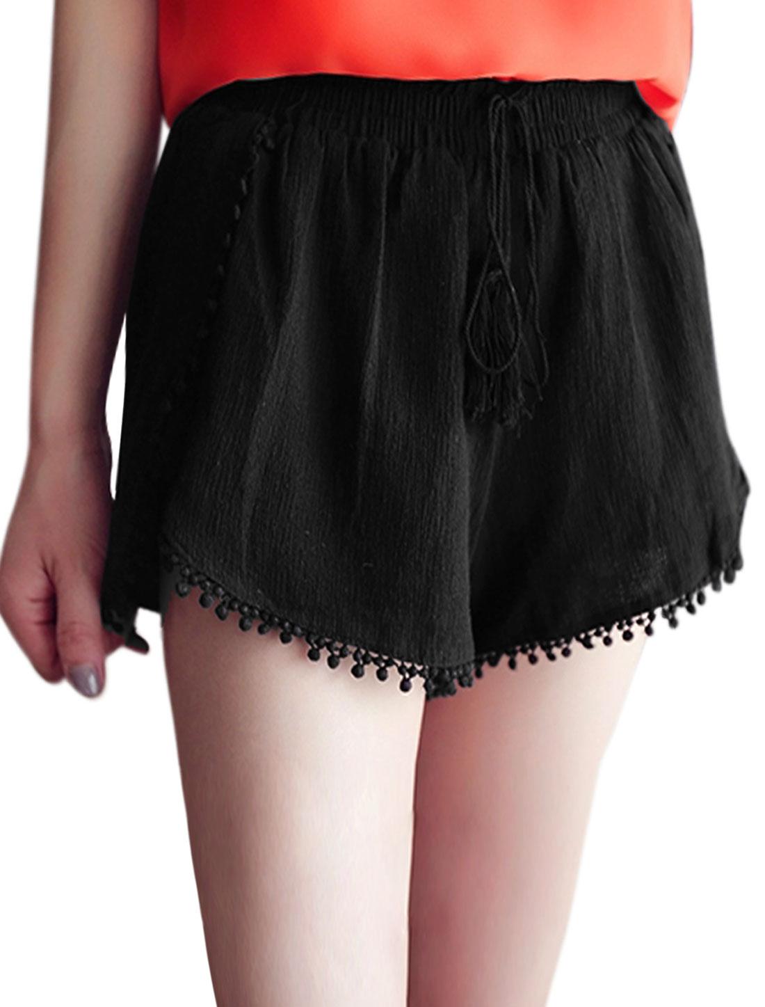 Woman Mid Rise Elastic Waist Pom-Poms Trim Casual Short Shorts Black XS