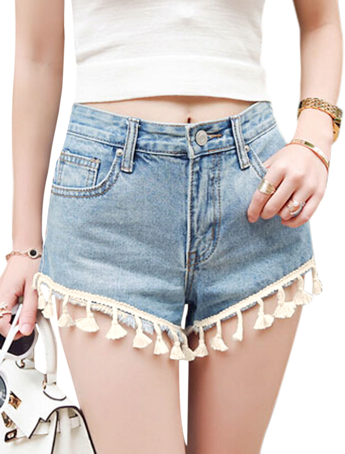Women Mid Rise Zip Fly Front Pockets Tassels Trim Casual Denim Shorts Blue M