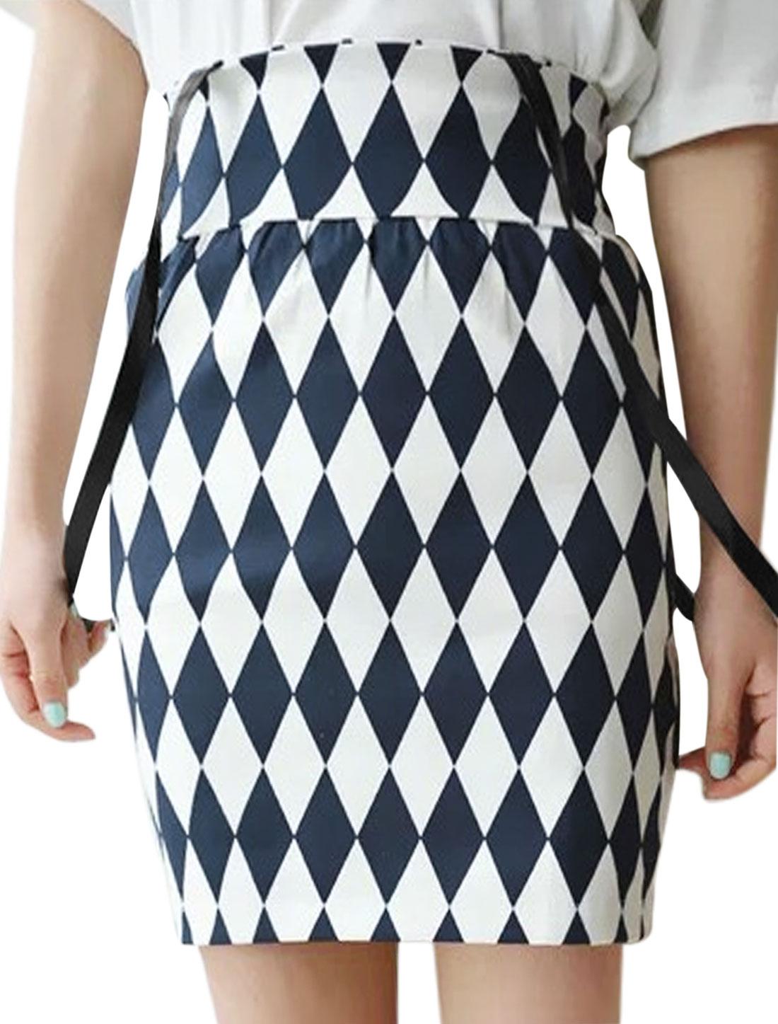 Ladies High Waist Argyle Prints Mini Suspender Skirt Navy Blue XS