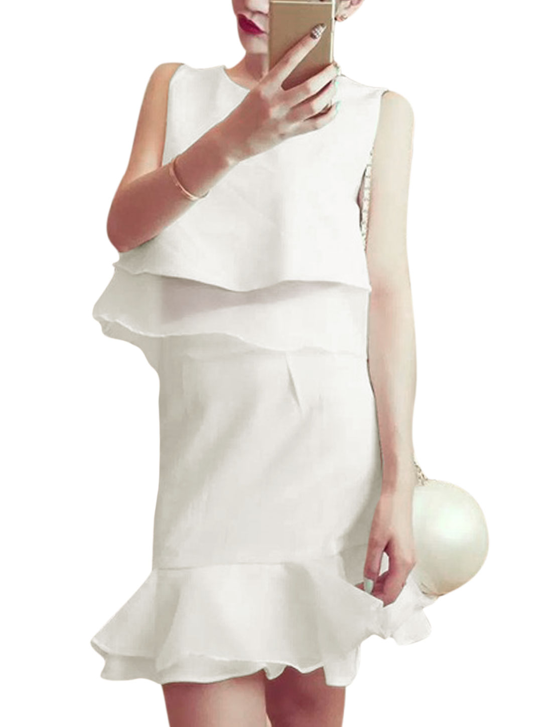Women Sleeveless Organza Panel Top w Slim Fit Skirt Sets White S