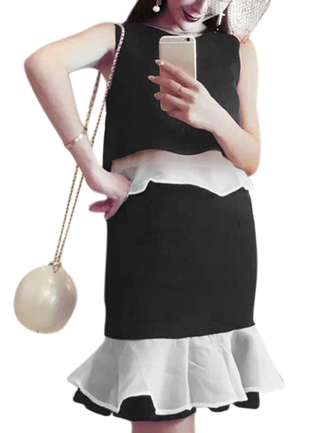 Ladies Sleeveless Top w Skinny Organza Panel Skirt Sets Black S