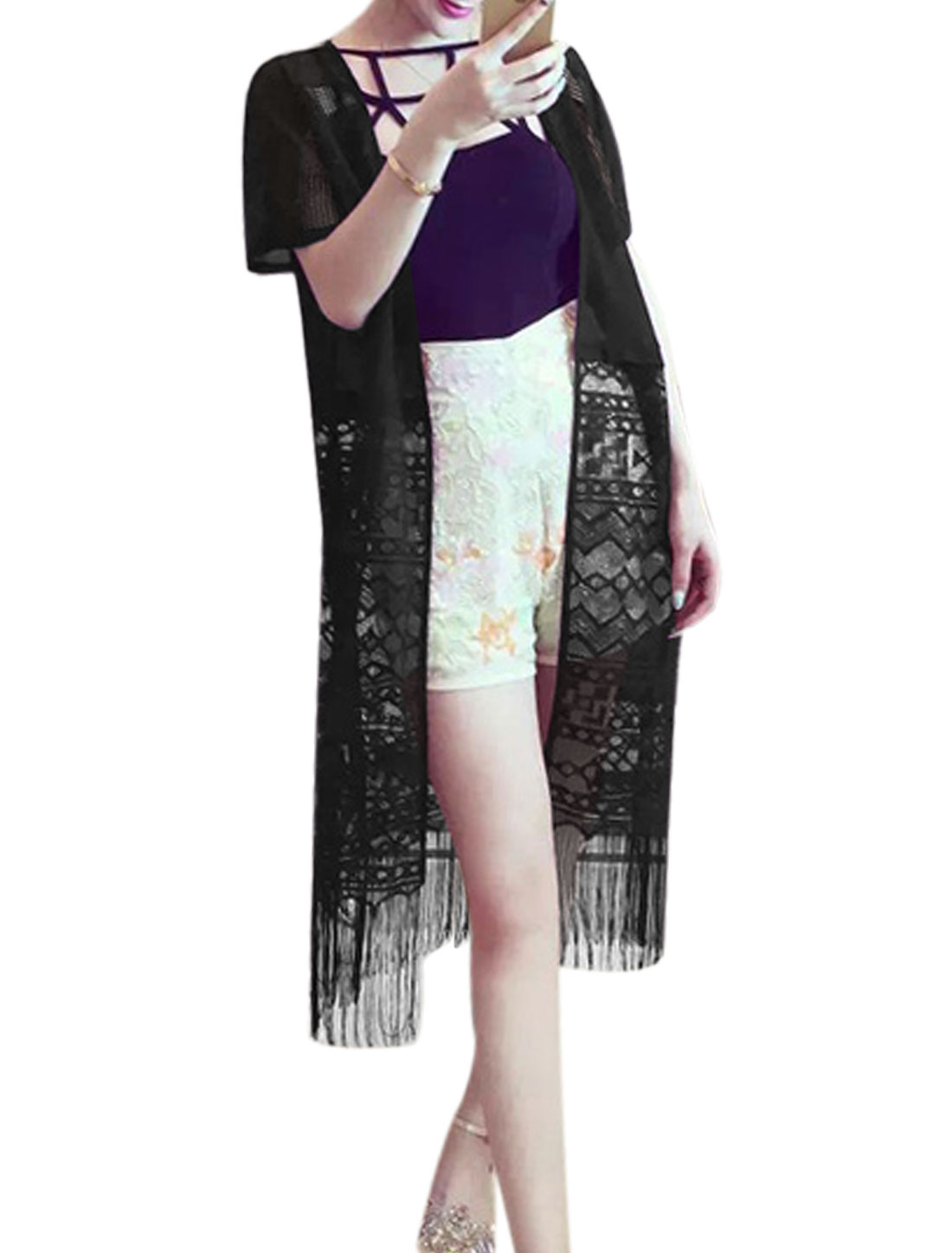 Women Lace Panel Semi Sheer Fringed Edge Longline Cardigan Black XS