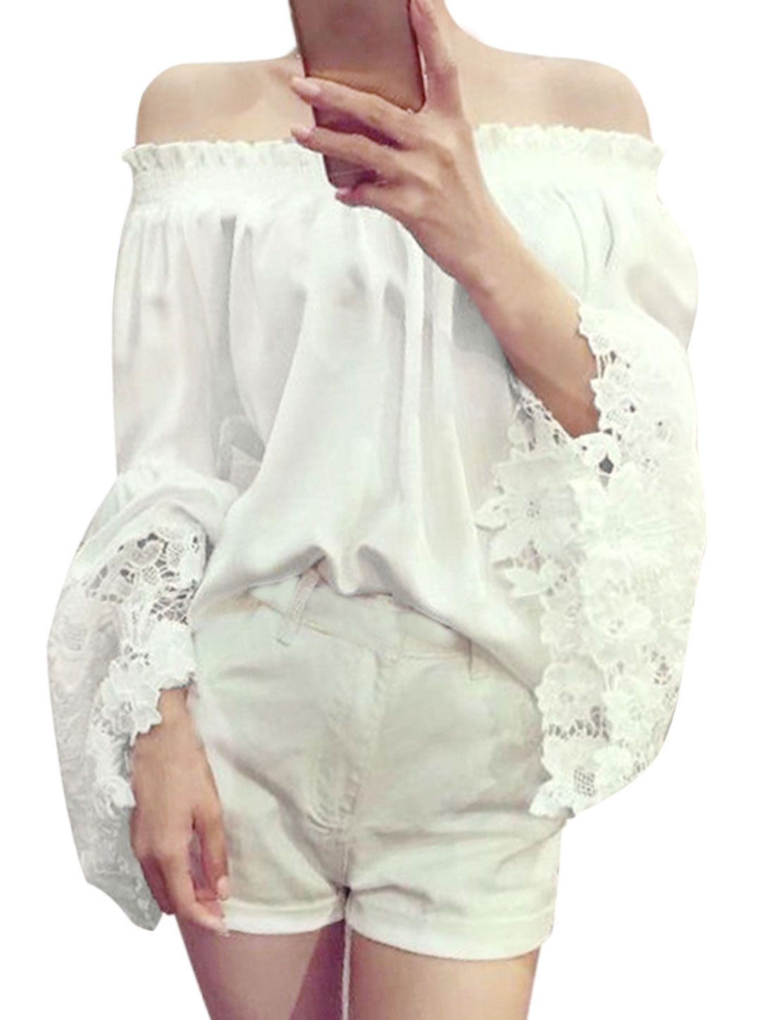 Ladies Long Bell Sleeve Off Shoulder Smocked Bust Casual Blouse White XS
