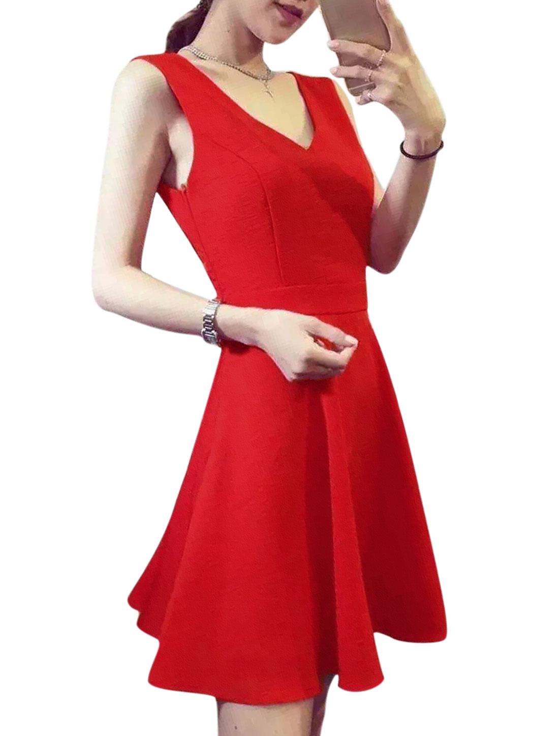 Women Deep V Neck Open Back Slim Fit A-Line Dress Red S