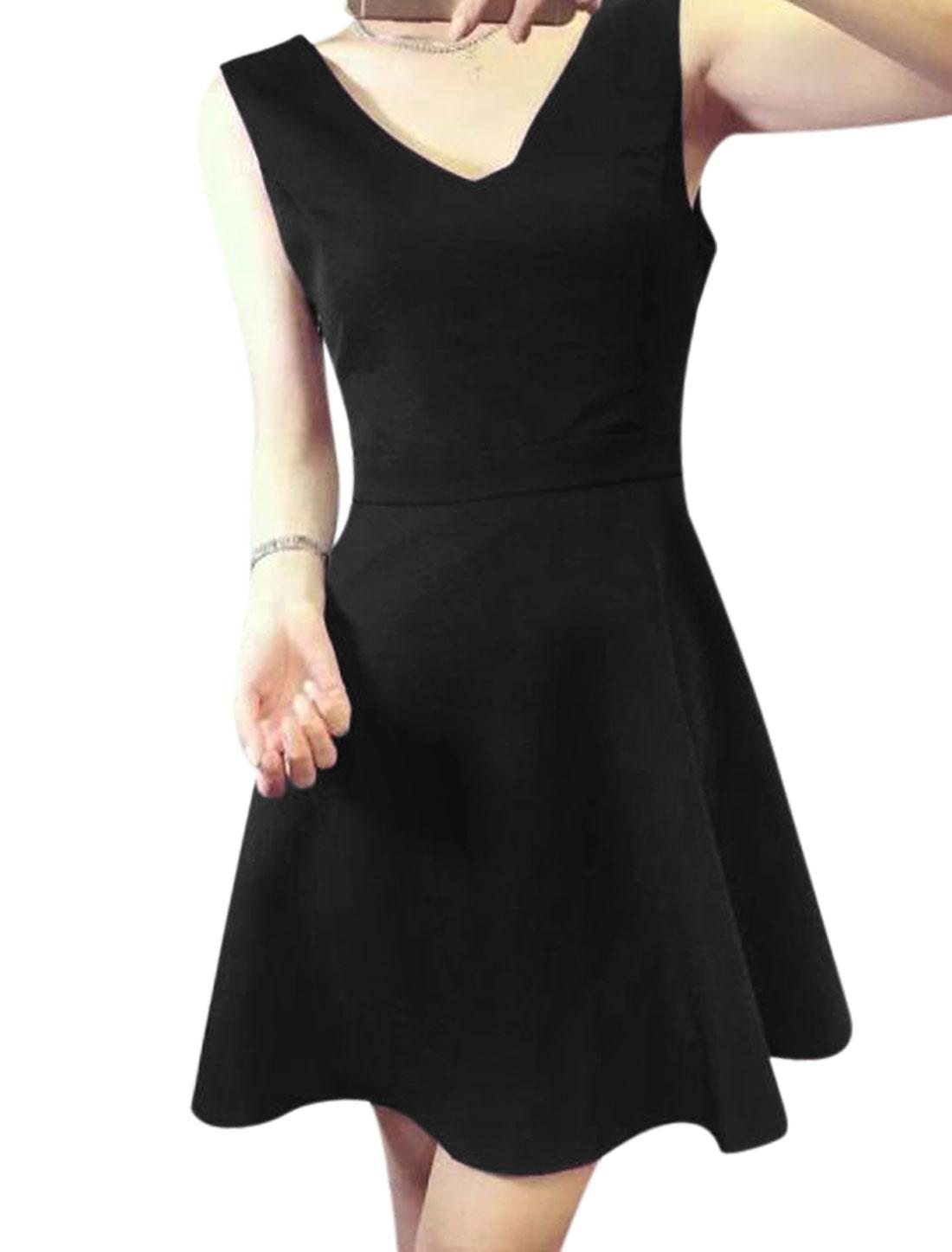 Women Deep V Neck Sleeveless Open Back Mini Dress Black S