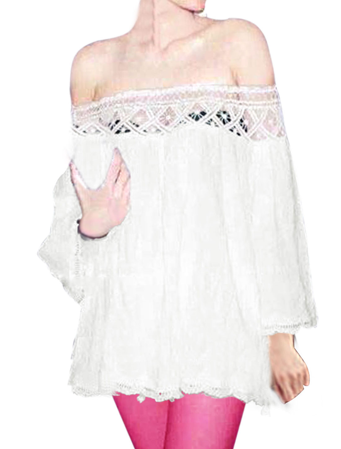 Women Off Shoulder Scalloped Trim Lace Panel Loose Fit Tunic Top White M