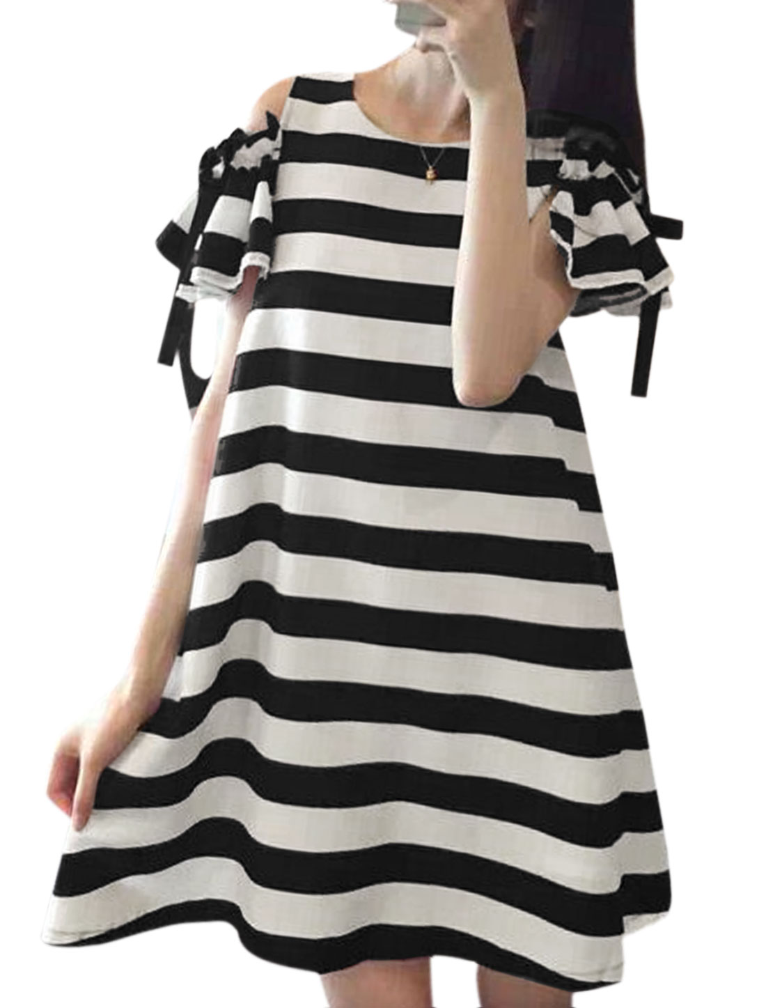 Ladies Cut Out Shoulder Stripe Round Neck Tunic Dress Black White XS