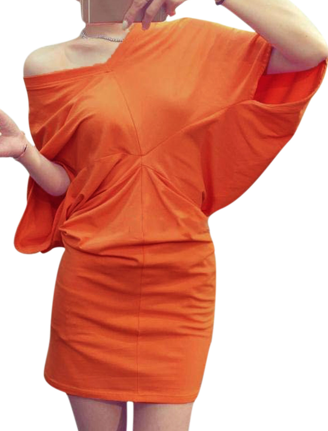 Women V Neck Elbow Sleeves Batwing Sleeves Blouson Dress Orange M