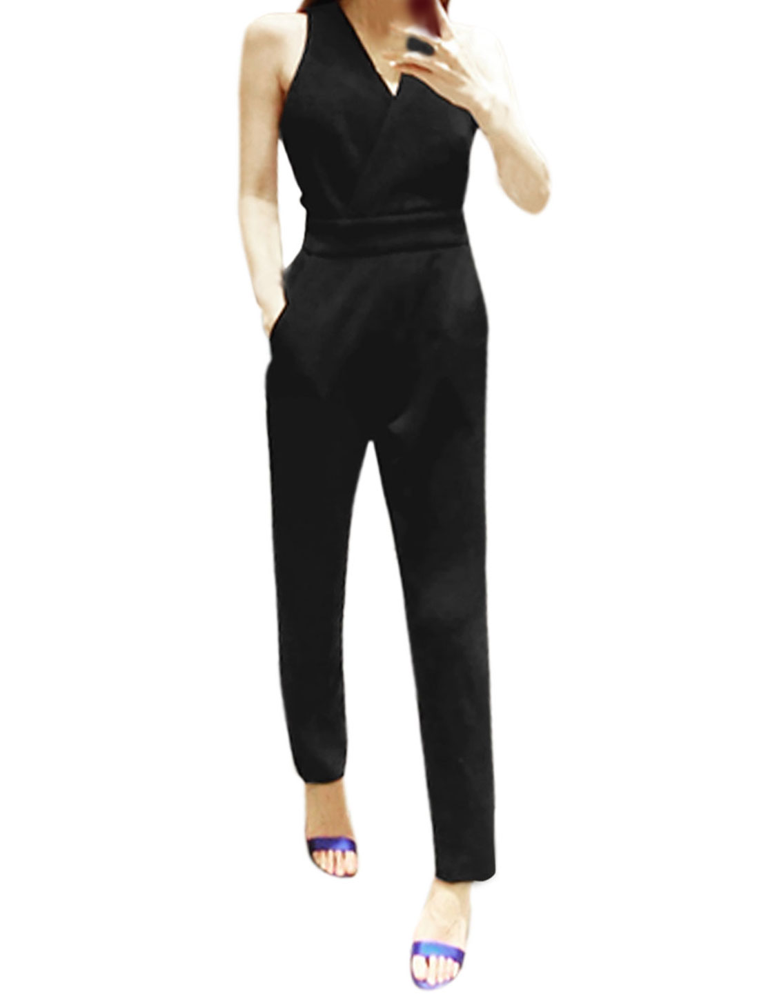 Ladies Sleeveless Crossover V Neck Front Pockets Casual Jumpsuit Black S