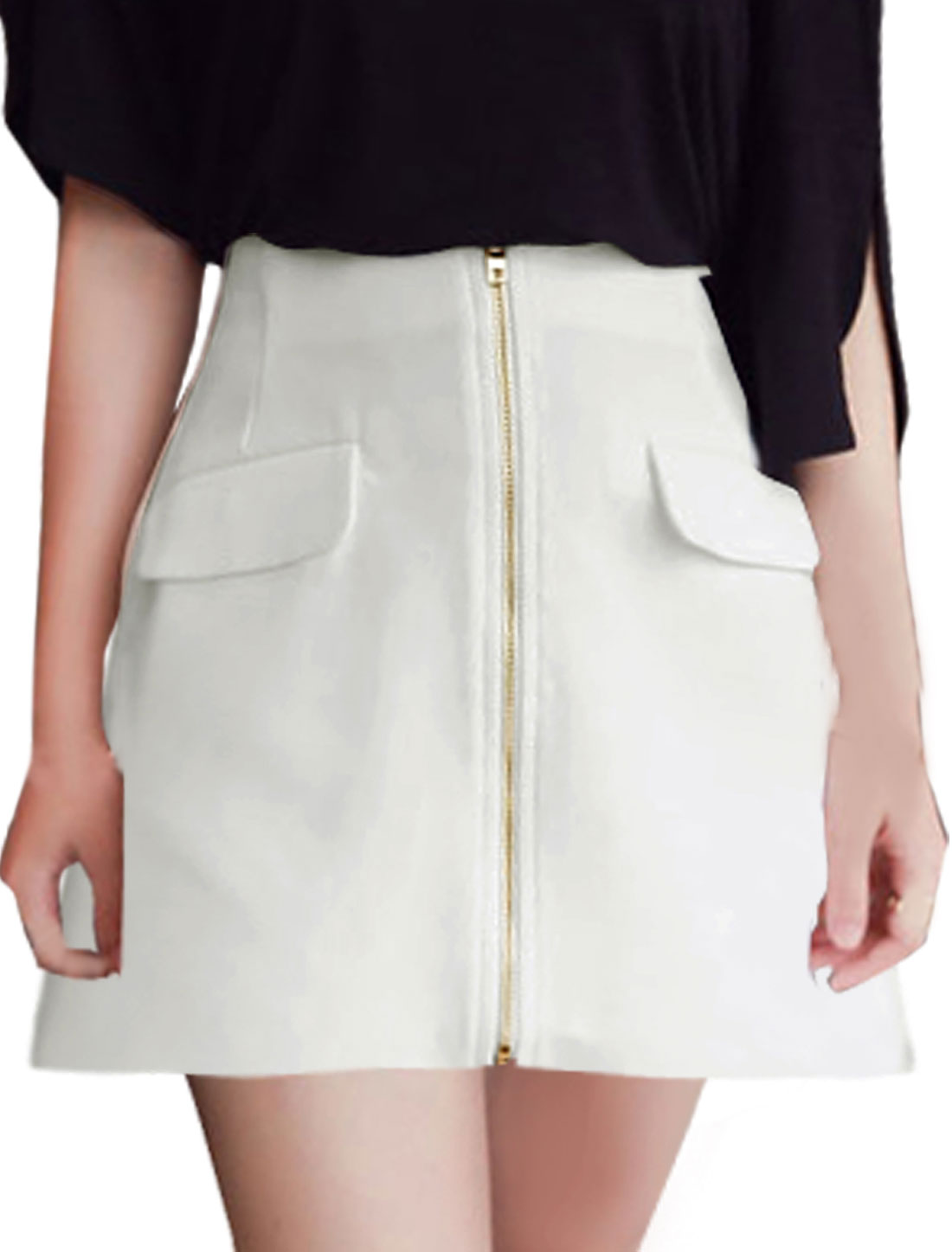 Women Natural Waist Exposed Zipper Front A Line Skirts White S