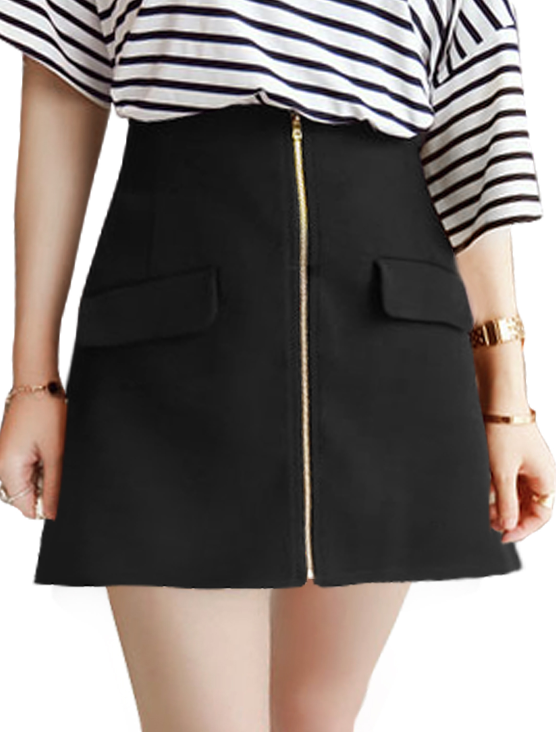 Women Exposed Zipper Front Natural Waist Mini Skirts Black S