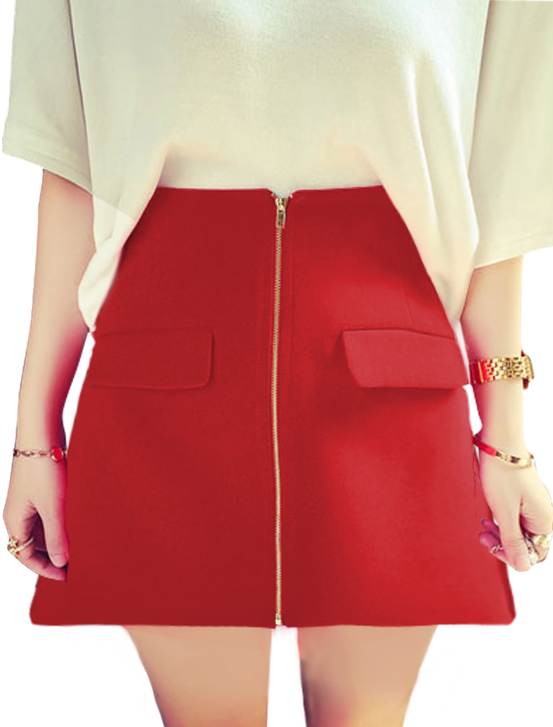 Ladies Flap Design Exposed Zipper Front Casual A Line Skirts Red S