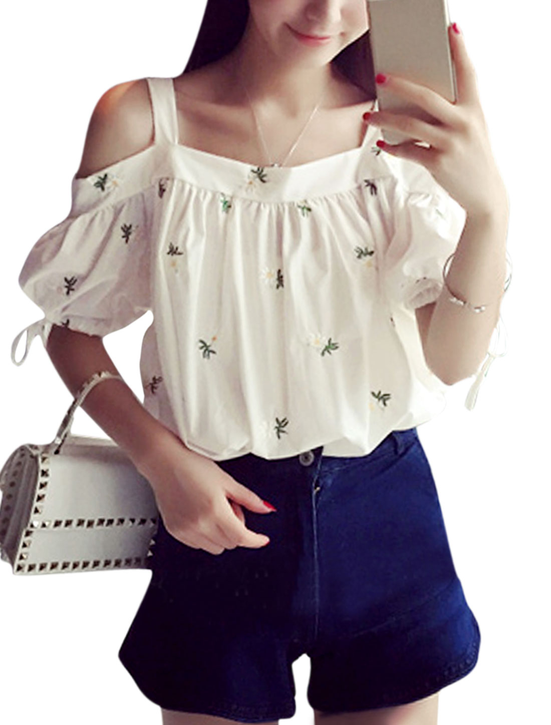 Women Strap Off Shoulder Flower Embroidery Blouse White XS