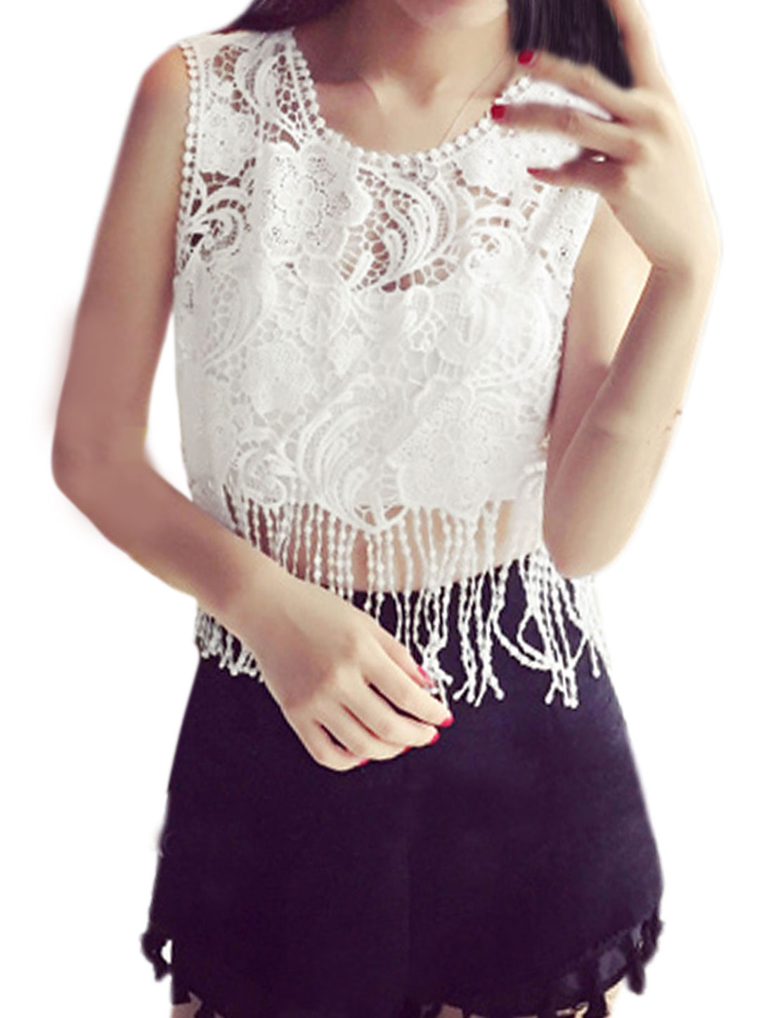 Woman Floral Design Hollow Out Sleeveless Fringed Lace Crop Top White XS