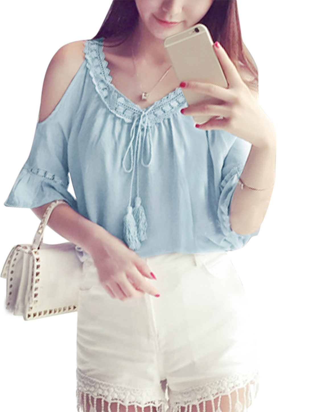 Women Elbow Sleeves Lace Panel Cold Shoulder Casual Top Blue XS