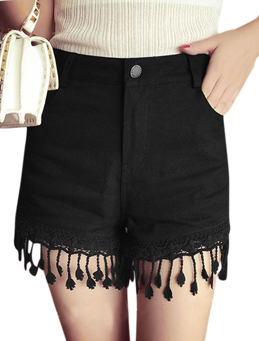 Ladies Mid Rise Zip Fly Front Pockets Tassels Casual Shorts Black S