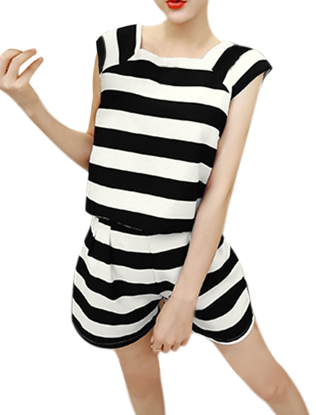 Women Square Neck Cap Sleeves Top w Stripes High Wasited Shorts Sets Black M