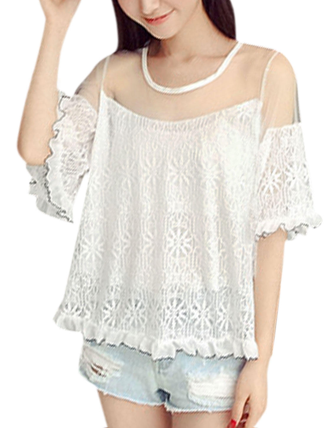 Woman Floral Design Mesh Panel Ruffled Hem Elbow Sleeves Lace Top White XS