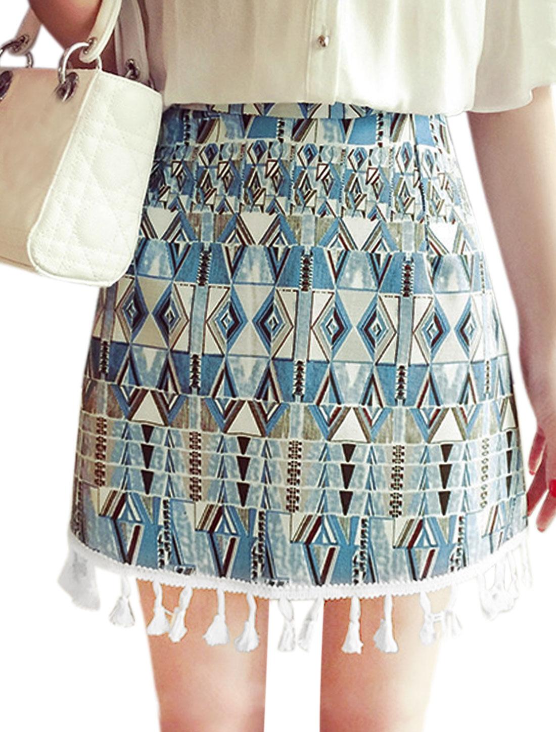 Ladies Geometric Printing Tassels Hem High Waisted Mini Skirt Blue S