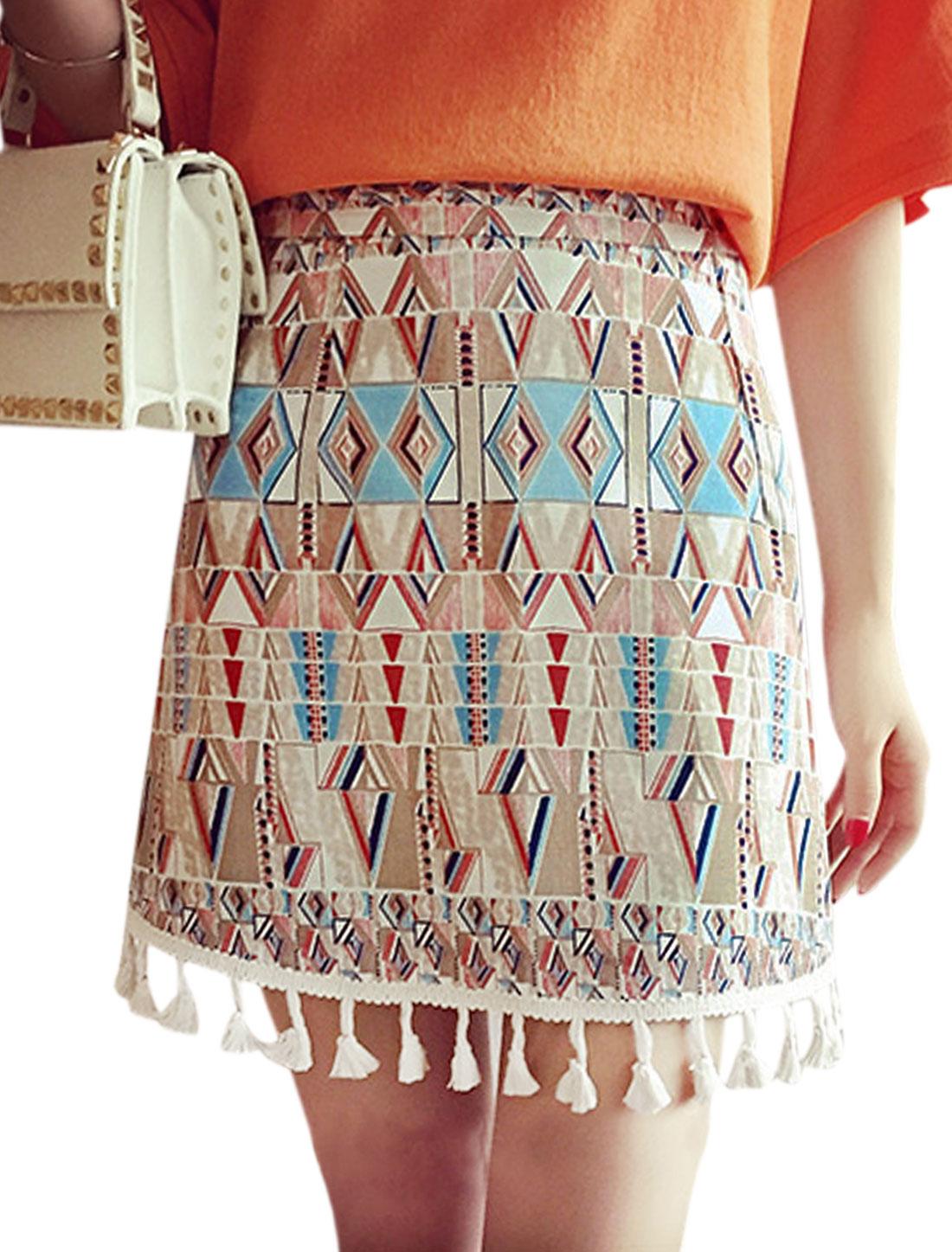 Ladies Geometric Pattern Fringe Hem Design Casual Mini Skirt Red S