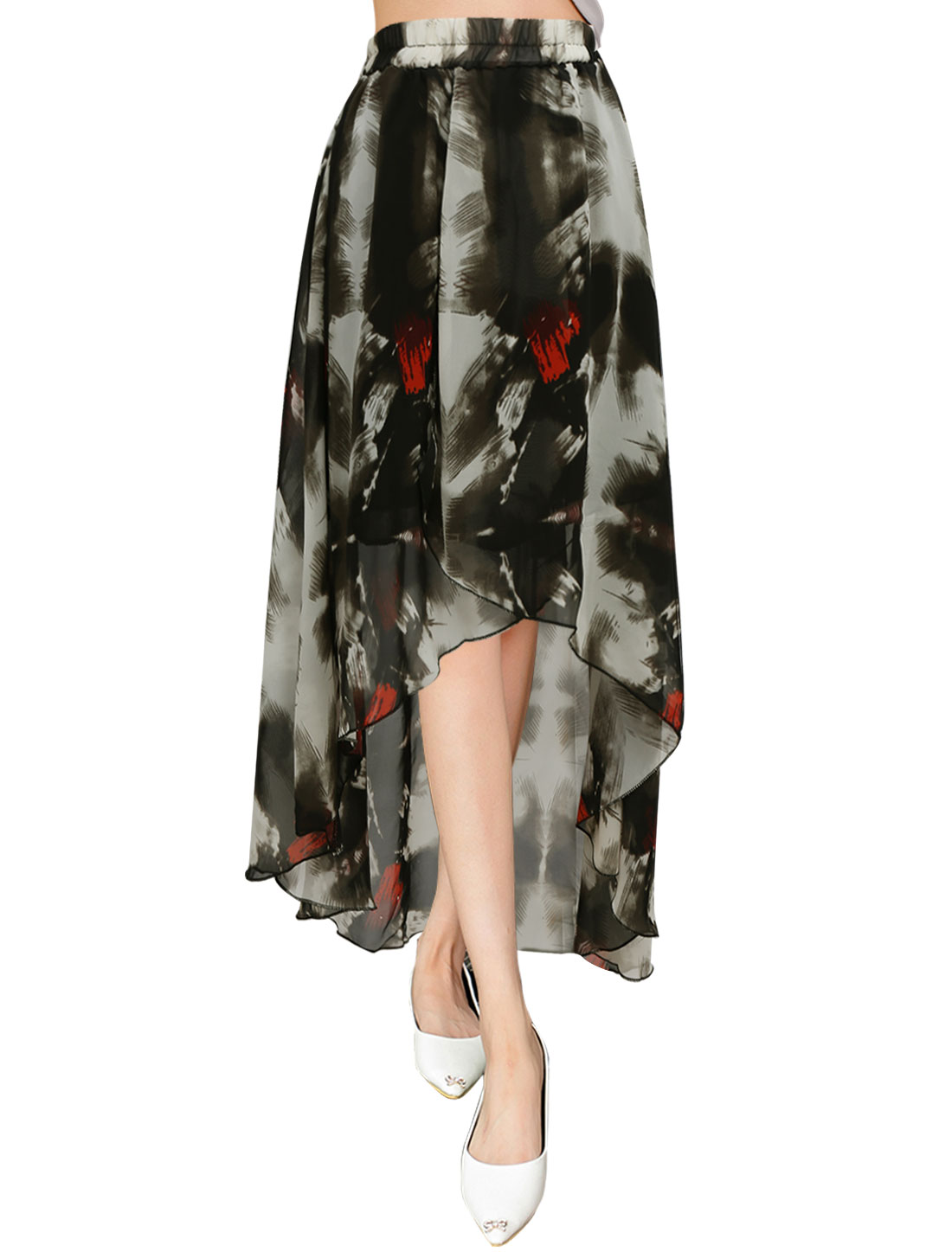 Ladies High Waist Asymmetrical Trim Novelty Prints Dress Black XS