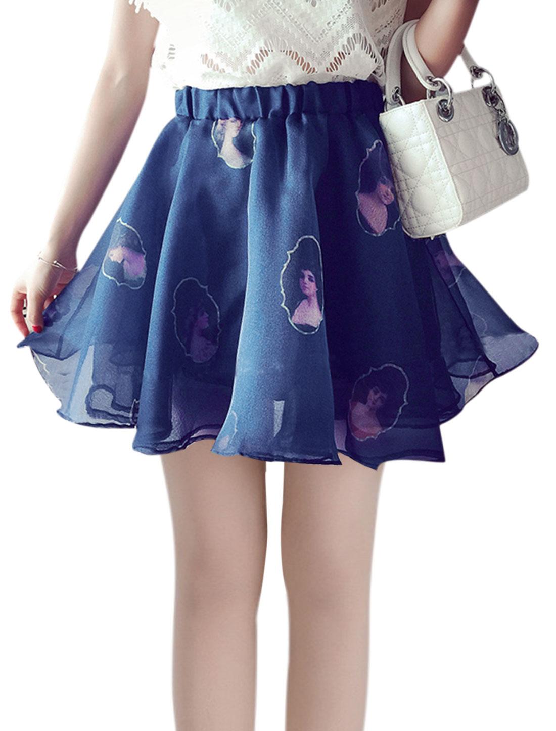 Woman Portrait Printed Elastic Waist Organza Skirt Blue XS