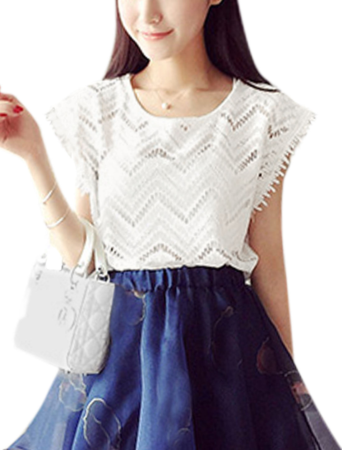 Women Cap Sleeves Panel Design Semi Sheer Casual Top White XS
