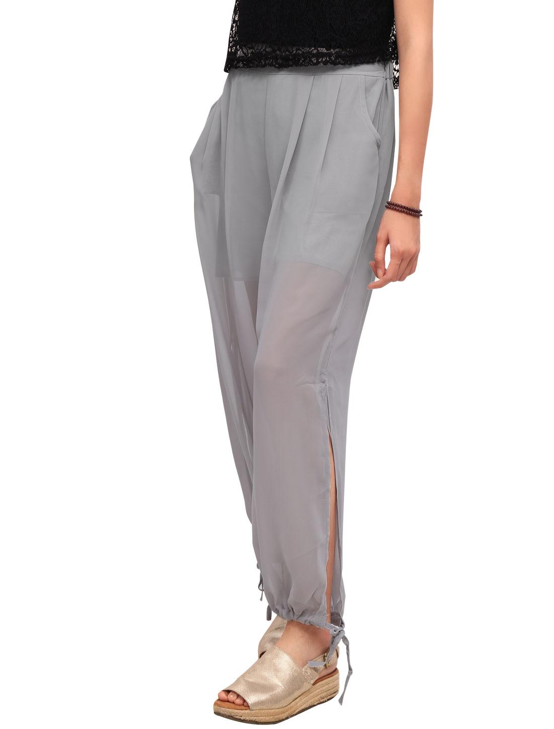 Women High Rise Semi Sheer Harem Pants Light Gray XS
