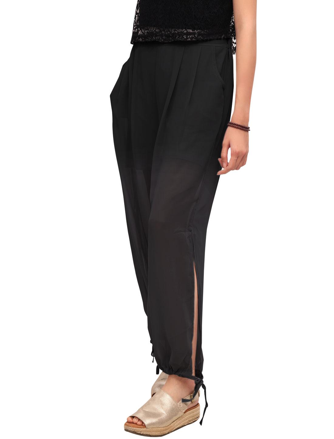 Women High Waist Split Drawcord Cuffs Chiffon Pants Black XS