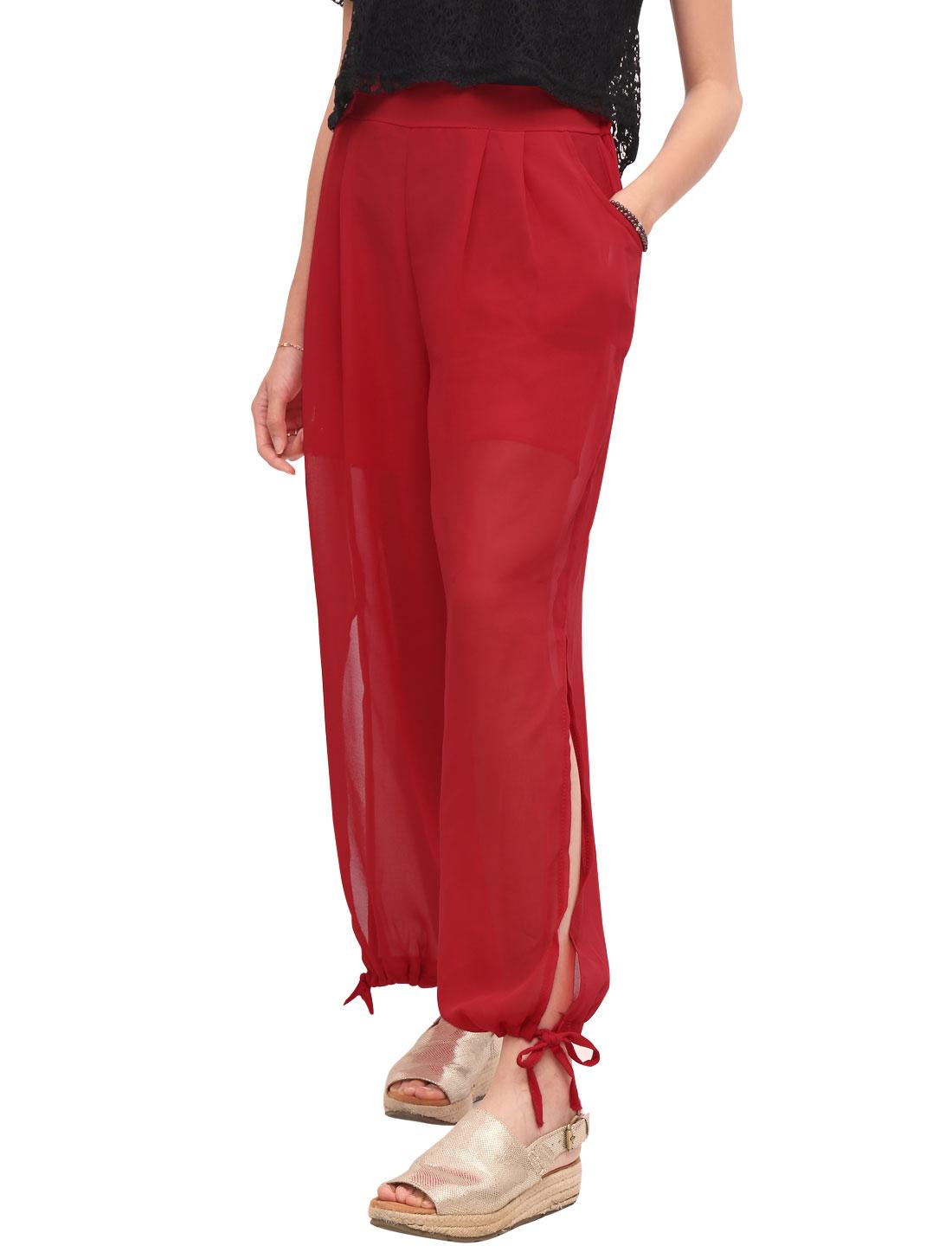 Women High Rise Elastic Waist Drawstring Cuffs Casual Pants Red XS