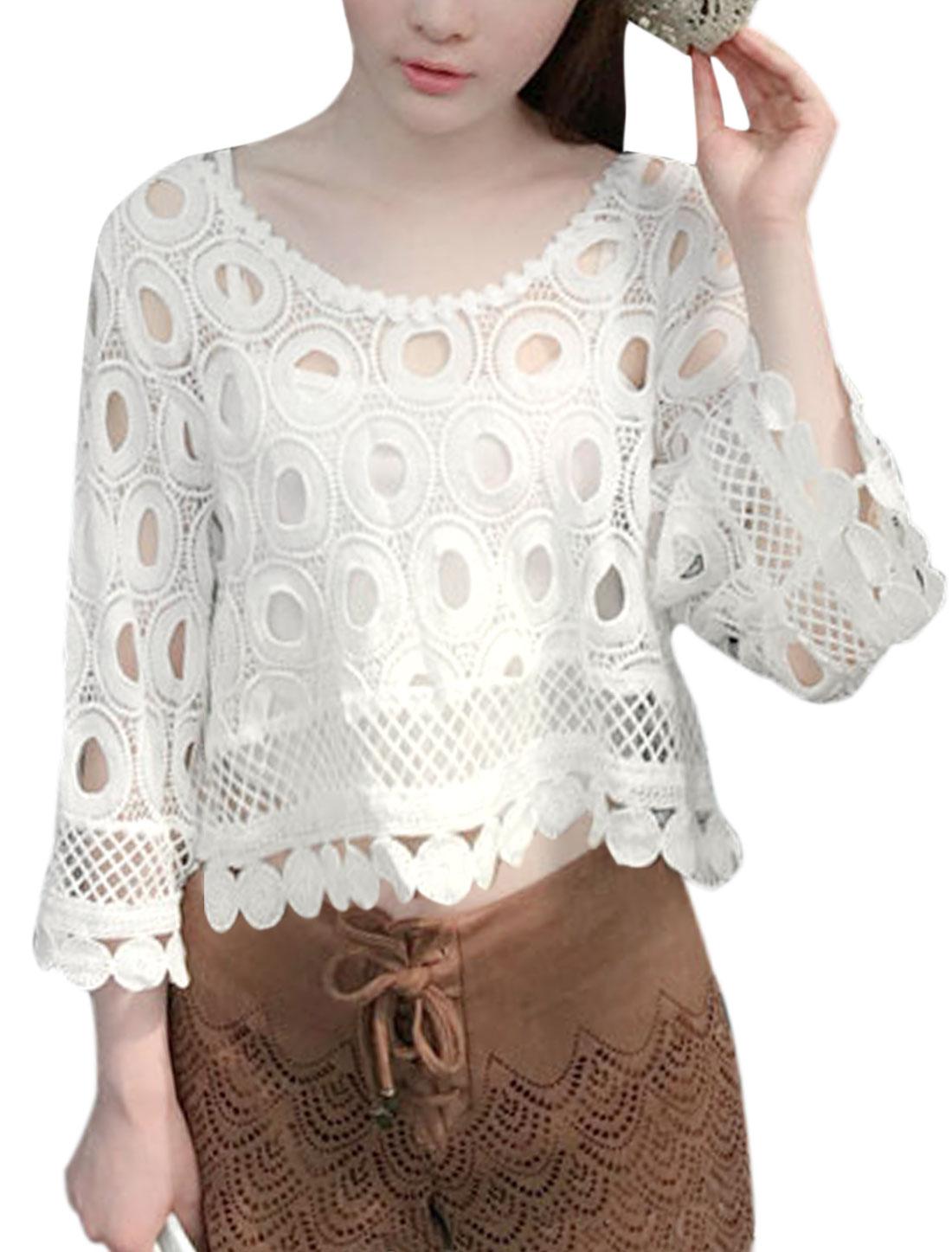 Women 3/4 Sleeves Scalloped Trim Cropped Shirt w Sleeveless Crop Cami White XS