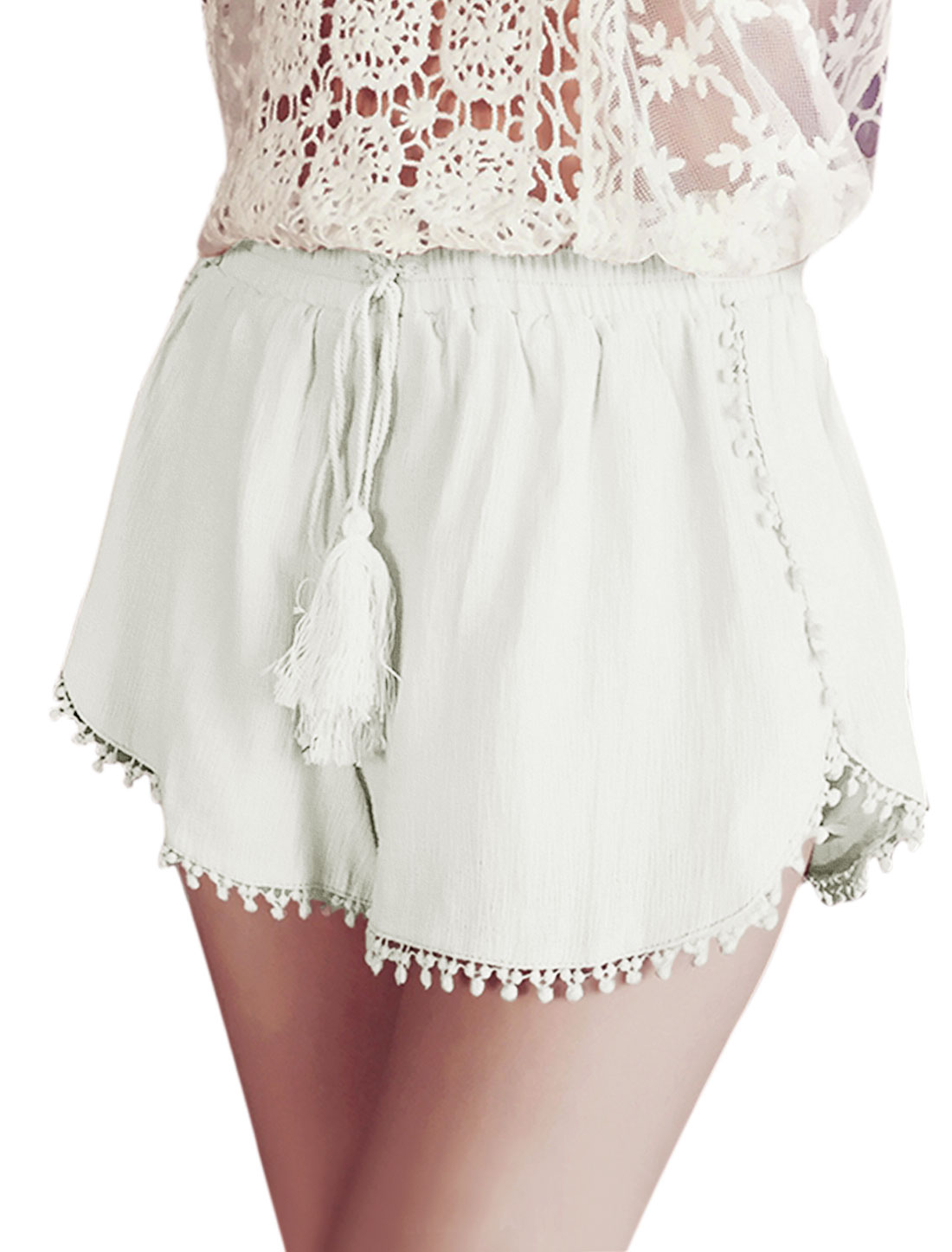 Woman Self Tie Front Elastic Waist Pom-Poms Trim Casual Shorts White XS