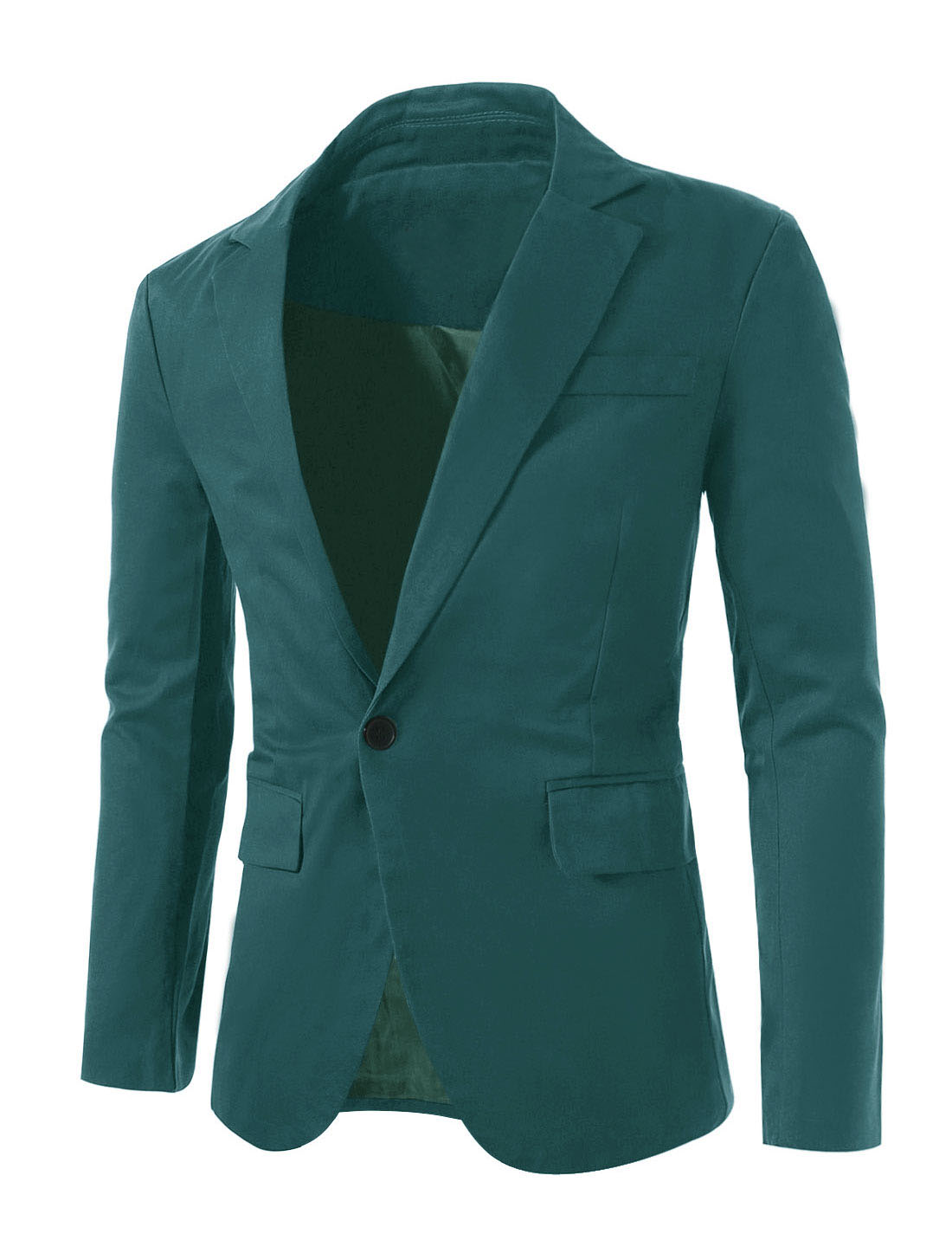 Men Notched Lapel Center-Vent Back One-Button Blazer Dark Green L