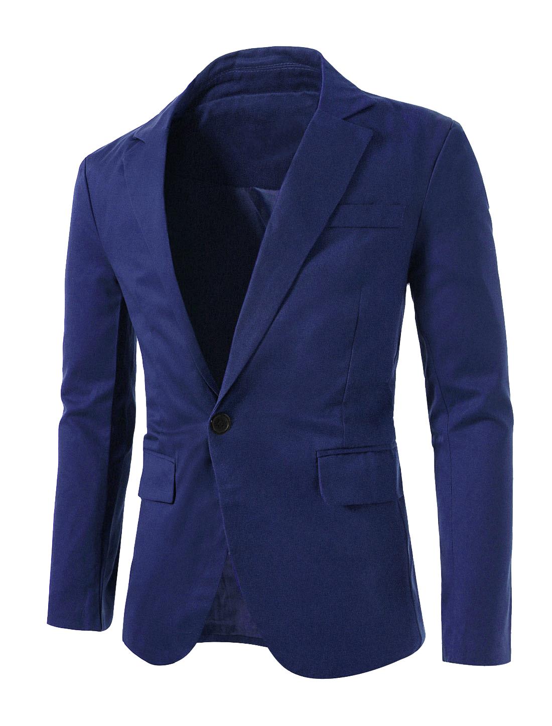 Men Notched Lapel Long Sleeves Vent Back Casual Blazer Blue L